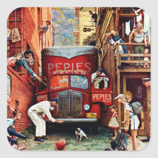 Road Block by Norman Rockwell Square Sticker