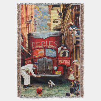 Road Block by Norman Rockwell Throw Blanket