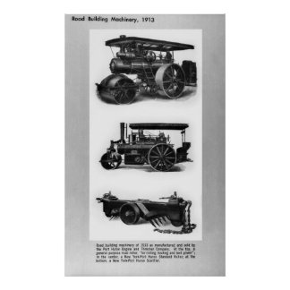 Road Building Machinery, 1913 Poster