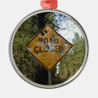 Road Closed Sign Round Metal Christmas Ornament