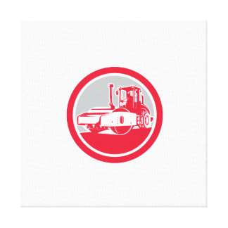 Road Compactor Circle Retro Canvas Print