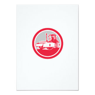 Road Compactor Circle Retro Invites