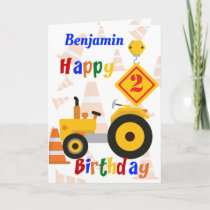 Road Construction Vehicle 2nd Birthday Card