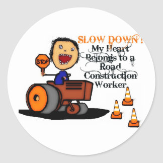 Road Construction Worker Love Classic Round Sticker