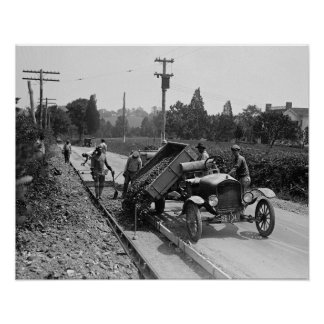 Road Crew at Work, 1925 Poster