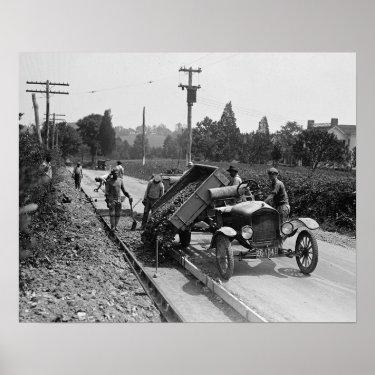 Road Crew at Work, 1925 Posters