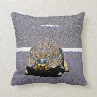 Road Crossing Tortoise Throw Pillow