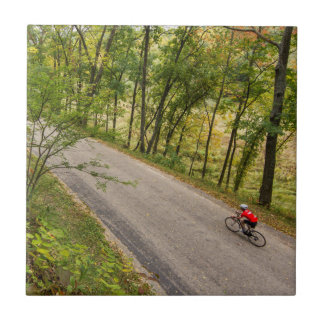 Road Cycling On Rural Country Road Ceramic Tile