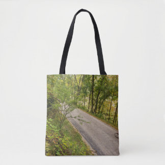 Road Cycling On Rural Country Road Tote Bag