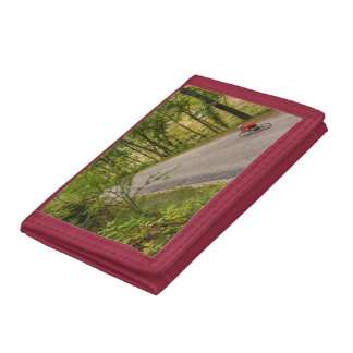 Road Cycling On Rural Country Road Trifold Wallet