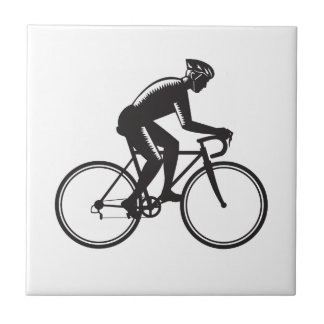 Road Cyclist Racing Woodcut Ceramic Tile