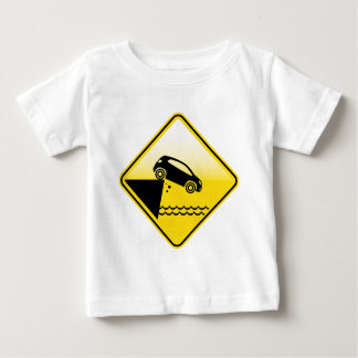 Road ends Sign Cliff fall in the water Danger Baby T-Shirt