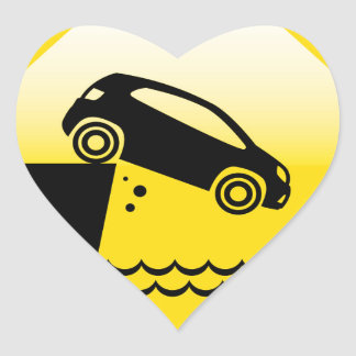 Road ends Sign Cliff fall in the water Danger Heart Sticker