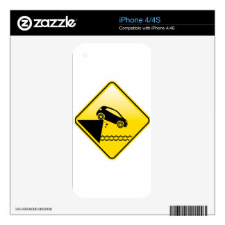Road ends Sign Cliff fall in the water Danger iPhone 4 Decal