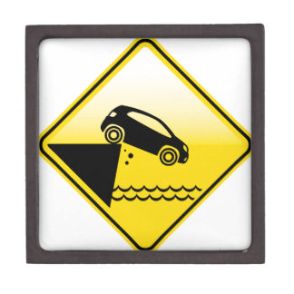 Road ends Sign Cliff fall in the water Danger Keepsake Box