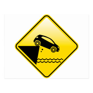 Road ends Sign Cliff fall in the water Danger Postcard