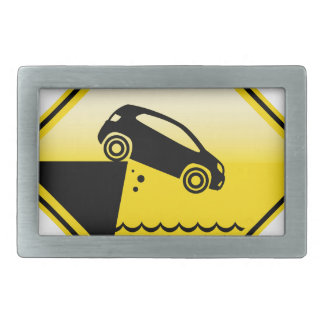 Road ends Sign Cliff fall in the water Danger Rectangular Belt Buckle