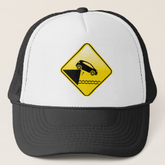 Road ends Sign Cliff fall in the water Danger Trucker Hat