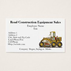 Road Grader Construction Business Cards at Zazzle