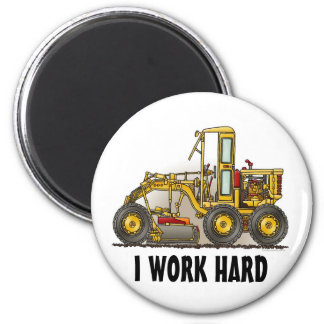 Road Grader Construction Round Magnet I Work
