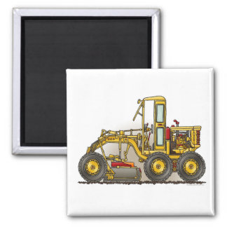 Road Grader Construction Square Magnet