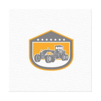 Road Grader Shield Retro Stretched Canvas Prints