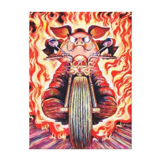 Road Hog Pig on a Motorcycle Wrapped Canvas Canvas Print