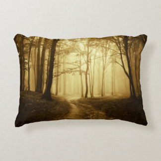 Road in a dark forest with fog decorative pillow