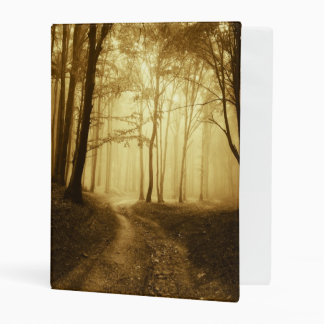 Road in a dark forest with fog mini binder