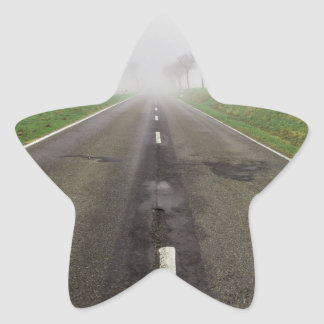 Road in fog leads to nothing star sticker