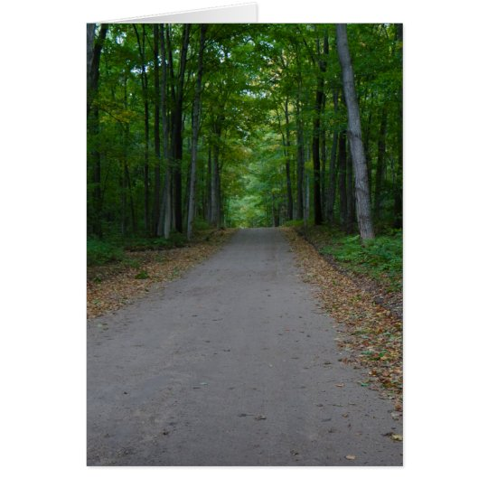Road in the woods. card