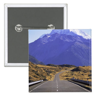 Road into Mount Cook National Park, New Zealand Button