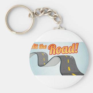 Road Basic Round Button Keychain