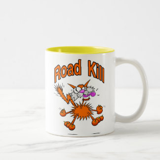 Road Kill Cat Two-Tone Coffee Mug