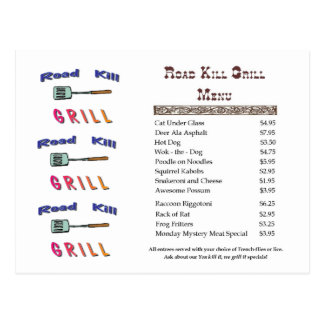 Road Kill Grill Postcard