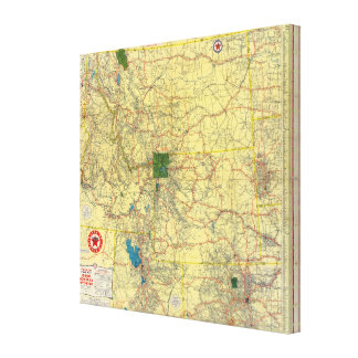 Road map Idaho, Mont, Wyo map Canvas Print