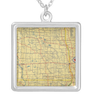 Road map N & S Dakota Silver Plated Necklace