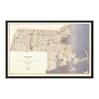 Road Map of Massachusetts (1922) Canvas Print