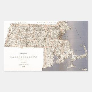 Road Map of Massachusetts (1922) Rectangular Sticker