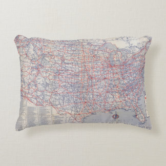 Road map United States Accent Pillow