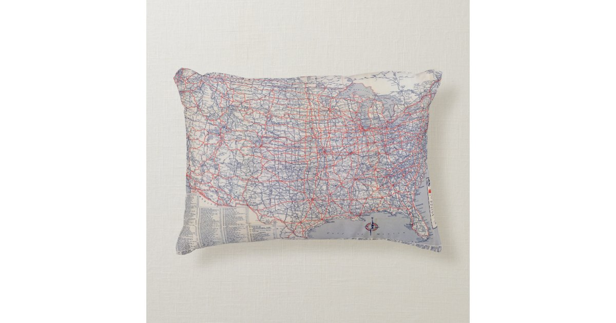 Decorative Pillows With States : Road map United States Decorative Pillow Zazzle