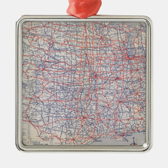 Road map United States Metal Ornament