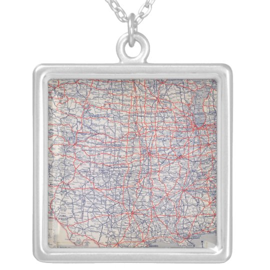 Road map United States Silver Plated Necklace