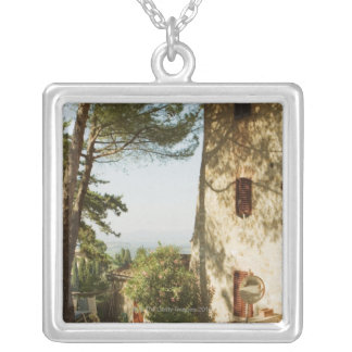 Road mirror in front of a building, San Square Pendant Necklace