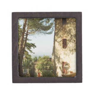 Road mirror in front of a building, San Premium Keepsake Boxes