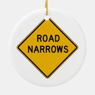 Road Narrows, Traffic Warning Sign, USA Christmas Ornament