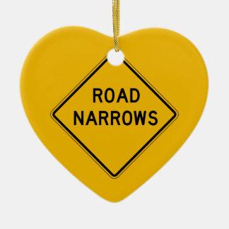 Road Narrows, Traffic Warning Sign, USA Ornament