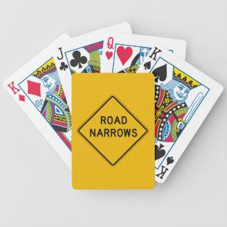Road Narrows, Traffic Warning Sign, USA Deck Of Cards