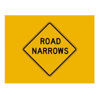 Road Narrows, Traffic Warning Sign, USA Postcard