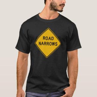 Road Narrows, Traffic Warning Sign, USA T-Shirt